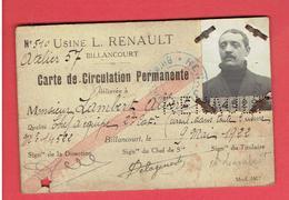 USINE L. RENAULT BILLANCOURT CARTE DE CIRCULATION PERMANENTE DE LAMBERT ALBERT DANS TOUTE L USINE 1922 - Cars