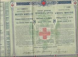 SOCIETE SERBE DE LA CROIX - ROUGE -OBLIGATION DE 20 FRS EN OR - ANNEE 1907 - Altri