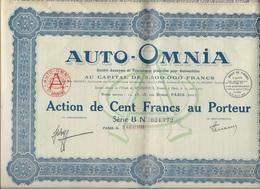 ACTION DE 100 FRS - AUTO - OMNIA - ANNEE 1928 - Automobilismo