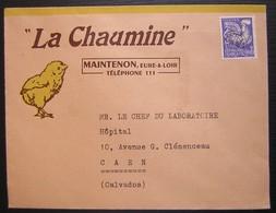 Maintenon (Eure & Loir) La Chaumine, Enveloppe Illustrée Avec Un Poussin, Timbre Préoblitéré - Postmark Collection (Covers)