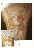 45729 France, Maximum 1997  Painting Fresco Of Romanic Church,  Abel Et Cain - Cartes-Maximum