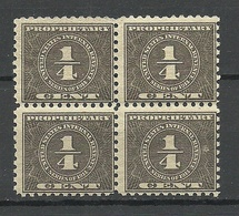 USA 1914 Internal Revenue Proprietary Tax 1/ 4 C. As 4-block MNH - Revenues