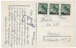 Czechoslovakia 1945 Censored Riesengebirge Picture Postcard To Yugoslavia Eb - Czechoslovakia