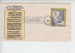 MESSICO  1974 - FDC - Manuel Ponce - Annullo Speciale Illustrato - Musica - Musica