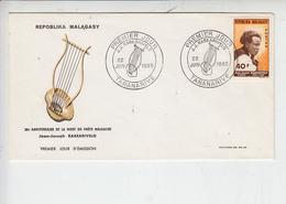MADAGASCAR 1965 - FDC - Annullo Speciale Illustrato Rabearvero - Musica - Musica