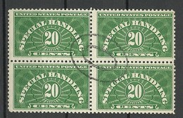 USA 1928 Revenue Tax Special Handling 20 C. Paketmarke Packet Stamp Michel 15 As 4-block O - Revenues