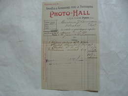 VIEUX PAPIERS - 75 PARIS - FACTURE : Appareils Et Accessoires Pour La Photographie - PHOTO - HALL - Francia