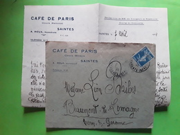 Lettre SAINTES Charente Maritime En Tête CAFE DE PARIS , Cours Wilson , Semeuse 25 C Bleu No 140, 124 TB - Covers & Documents