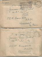 2 Enveloppes+contenu Camp De Prisonniers Allemands En Belgique 1946 POW CAMP 2232 Quaremont (RENAIX) - Documents