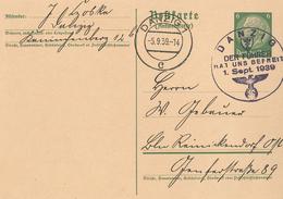 Ganzsache Antwortkarte Danzig 5.9.1939 Der Führer Hat Uns Befreit Hindenburg - Cartas