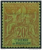 Saint Pierre Et Miquelon (1892) N 65 * (charniere) - St.Pierre Et Miquelon