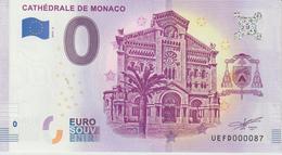 Billet Touristique 0 Euro Souvenir Monaco Cathédrale 2019-2 N°UEFD000087 - Essais Privés / Non-officiels