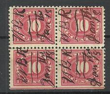 USA O 1918 Revenue Documentary Tax 10 C. As 4-block - Revenues