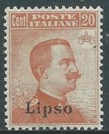 1921-22 EGEO LIPSO EFFIGIE 20 CENT MNH ** - RA3-8 - Egeo (Lipso)