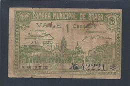 Cédula De 1 Centavo Da Câmara Municipal De Braga Emitida Em 1920.  Edificio Municipal. Cidade De Braga. 2 Sc - Portugal