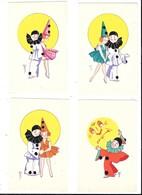 FANTAISIE - Pierrot -Colombine Et La Lune -Lot De 4 Cartes - Fantaisies
