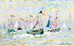 Trouville (14) : Fête De La Mer Par André Hambourg - Peintures & Tableaux