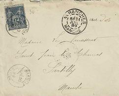 TP N ° 90 Seul  Sur Enveloppe De Avranches Pour Sartilly Avec Cad Divers, Voir Verso - 1877-1920: Semi-moderne Periode