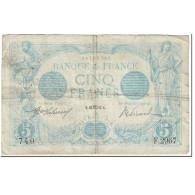 France, 5 Francs, Bleu, 1913, 1913-08-23, B+, Fayette:2.20, KM:70 - 1871-1952 Circulated During XXth