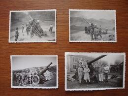 Lot 4 Photos Artilleurs Pendant Campagne De Guerre - 14-18? - Guerre, Militaire