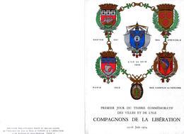 ENCART COMPAGNONS DE LA LIBÉRATION - TIMBRE COMMÉMORATIF DES VILLES ET DE L'ILE DE SEIN 15 ET 16 JUIN 1974 - France