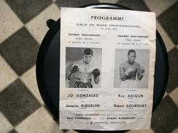 PROGRAMME  GALA DE  BOXE PROFESSIONNEL  *Poids  Moyens *Poids Légers  JUIN 1965 - Programs