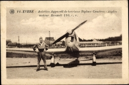 Cp Evere Brüssel, Aviation Appareil De Tourisme Biplace Caudron Aiglon, Moteur Renault 110 - Avions