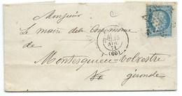 N° 60 CERES SUR LETTRE / PARIS POUR MONTESQUIEU VOLVESTRE / 1873 - Storia Postale