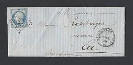Napoléon 14 A Sur Lettre Avec Correspondance De Clermont De L' Oise Vers Eu Du 5 Avril 1855 - Marcophilie (Lettres)