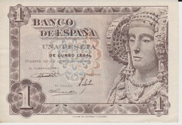 (16) ESPAGNE ++  BILLETE DE 1 PESETA DE 19-06-1948. DAMA DE ELCHE / SANS SERIE - [ 3] 1936-1975 : Regency Of Franco