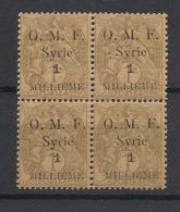 Syrie - 1920 - N°Yv. 21 - Blanc 1m Sur 1c - Papier GC - Bloc De 4 - Neuf Luxe ** / MNH / Postfrisch - Syria (1919-1945)
