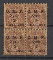 Syrie - 1920 - N°Yv. 26 - Blanc 2m Sur 2c - Papier GC - Bloc De 4 - Neuf Luxe ** / MNH / Postfrisch - Syria (1919-1945)