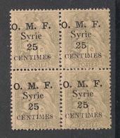 Syrie - 1920 - N°Yv. 31 - Blanc 25c Sur 1c - Bloc De 4 - Neuf Luxe ** / MNH / Postfrisch - Syria (1919-1945)