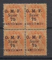Syrie - 1920 - N°Yv. 47 - Type Blanc 75c Sur 3c - Bloc De 4 - Neuf Luxe ** / MNH / Postfrisch - Syria (1919-1945)