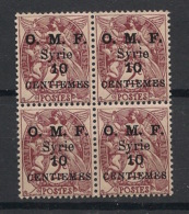 Syrie - 1923 - N°Yv. 83 - Blanc 10c Sur 2c Lilas - Bloc De 4 - Neuf Luxe ** / MNH / Postfrisch - Syria (1919-1945)