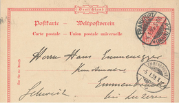 Ganzsache Frankfurt Main Postkarte Nach Emmenbrücke/Schweiz - Brieven En Documenten