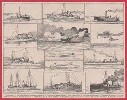 Torpilleur. Navire Militaire. Navire De Guerre. Illustration Léon Haffner, Peintre Officiel De La Marine. Larousse 1920 - Vieux Papiers