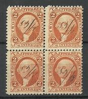USA 1860ies Internal Revenue Tax Washington 2 C. As 4-block O - Fiscaux