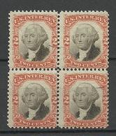 USA 1860ies Internal Revenue Tax Washington 2 C. As 4-block MNH - Fiscaux