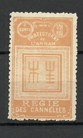 French INDOCHINE PROTECTORAT DE L`ANNAM (Vietnam) Tax Revenue Taxe Regie Des Cannelles * - Indochina (1889-1945)