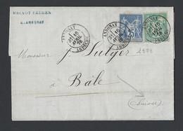 Sage N° 75 Et N° 78 Sur Lettre Avec Correspondance De Annonay 16/4/1878 Vers Bâle ( Suisse )  Verso TAD Suisse Basel - Poststempel (Briefe)