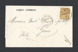 Sage N° 91 Sur Lettre Sans Texte Entête Crédit Lyonnais TAD Gare De Lyon 1881 - Postmark Collection (Covers)
