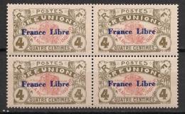 Réunion - 1943 - N°Yv. 187 - France LIbre 4c - Bloc De 4 - Neuf Luxe ** / MNH / Postfrisch - Réunion (1852-1975)