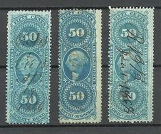 USA 1860ies Internal Revenue Tax Washington 50 C., Color Varieties Different Printings O - Revenues