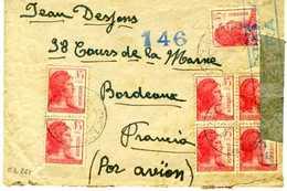 1938 Sobre Desde LA FARGA BARCELONA  POR AVION Hasta Bordeaux E261 - 1931-50 Cartas