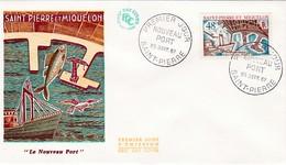 FDC PREMIER JOUR  378 Aménagements Nouveau Port 25-09-1967 Saint-Pierre Et Miquelon - FDC