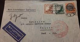 O) 1936 GERMANY, PRES. VON HINDENBURG, SWASTIKA SUN, MIT DEUTSCHER LUFTPOSM TO CALLAO -PERU - Germany
