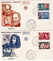 FDC PREMIER JOUR  2 Lettres 380 à 383 Célébrités 20-05-1969 Saint-Pierre Et Miquelon - FDC