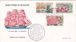 FDC PREMIER JOUR  395 à 397 Bateaux Relations St Pierre France 13-10-1969 Saint-Pierre Et Miquelon - FDC