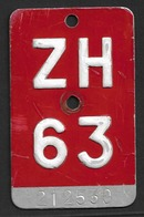 Velonummer Zürich ZH 63 - Plaques D'immatriculation